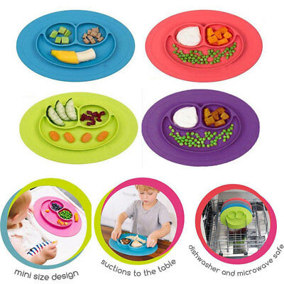 Baby One Piece Silicone Placemat Plate Dish Food Tray Table Mat for Kids Toddler