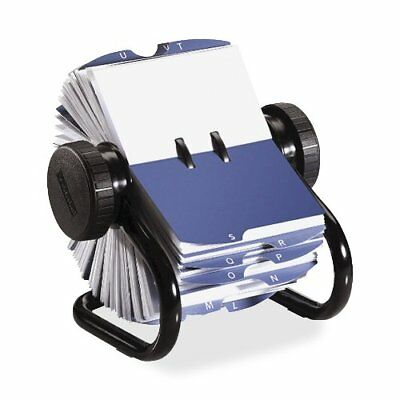 Rolodex Rotary Business Card File - 400 Business Card - 24 Printed - Black