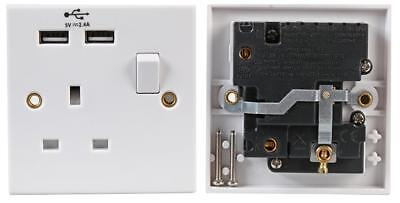 Single 1-Gang Electrical Socket Faceplate Switch + 2 USB 2.4 AMP Charging Hubs