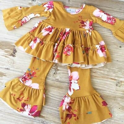 Toddler Kid Baby Girl Floral Ruffle Dress Tops T shirts Wid Leg Pants Outfit Set