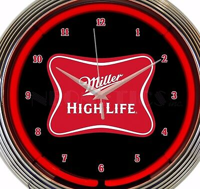 Miller High Life Beer Neon Wall Clock Office Game Room Garage 15 Inch Red Black