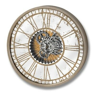 Antique Style Gold Mirrored Glass Wall Clock with Moving Mechanism (H18570) 60cm