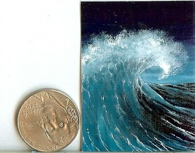 PRINT 2x1.5 Inch GLOSSY Night Ocean Seascape Dollhouse PRINT 1:12 Scale HYMES
