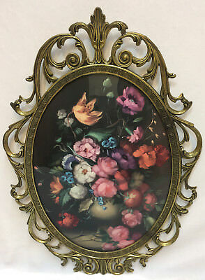 Curved Glass Picture Frame Ornate Brass Metal Floral Flower Convex Italy Vintage