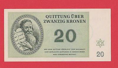 Germany Camp Theresienstadt Ghetto 20 Kronen 1943 Jewish RARE LAGER NOTE UNC !