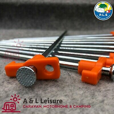 10 x Hard Ground Steel Rock Pegs ORANGE Caravan Camping Tent Awning (25cm Long)