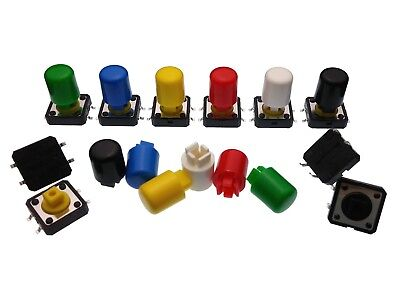 12mm Tactile Switch With Colourful A21 Caps - Momentary Tact Push Button SMD/TH