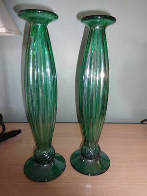 "Vintage green art glass taper candlesticks pair 14.5"" swirl iridescent GORGEOUS"