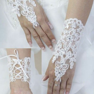 White Stylish Party Fingerless Lace Short Paragraph Bridal Wedding Gloves