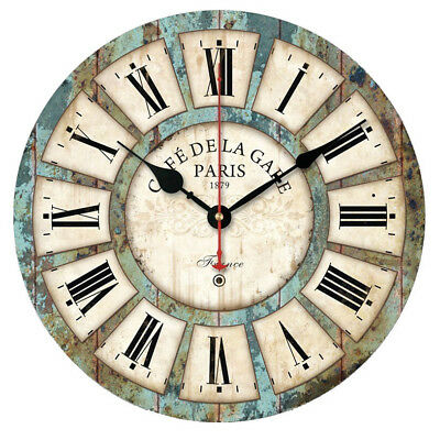 Vintage Creative Round Wood Wall Clock Quartz Bracket Clock U61222 Aimecor Deco