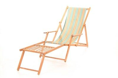 Wood Sun Lounger Garden Deck Chair Seat Adjustable