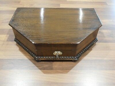 Antique Deco Oak Lined Collectors Box with lock and key circa 1930