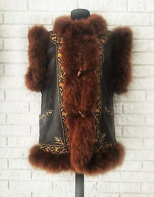 Vintage VTG Faux Fox Fur Vest 70s Gypsy Glam Boho Costume Vests Embroidered M/L