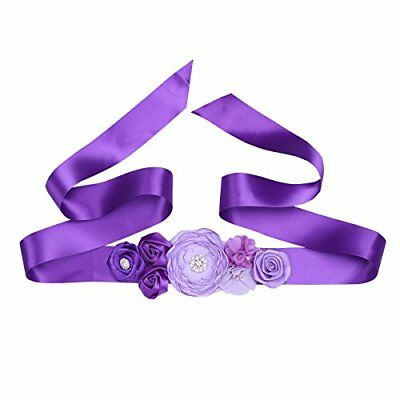 Maternity Pregnancy Sash Belt with Flower Floral Baby Shower Belly Girl A-Purple