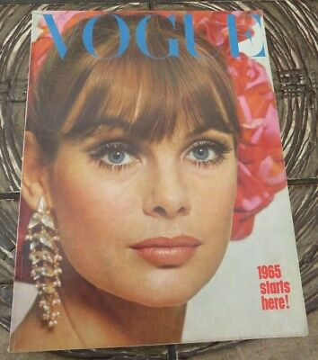 Vintage Vogue Magazine January 1965 Jean Shrimpton Cover by Duffy - Mick Jagger
