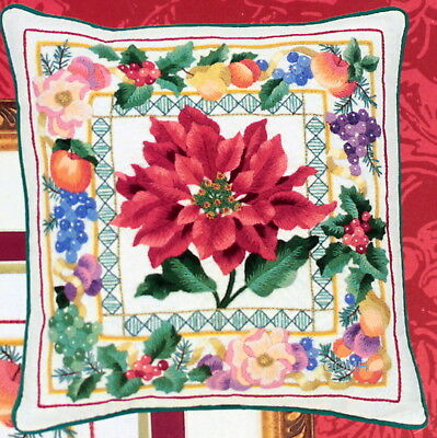 SYMBOLS of the SEASON Crewel Kit Christmas Poinsettias Holiday Fruit Holly Berri