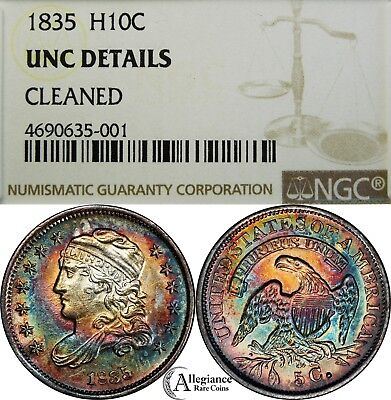 1835 H10c Capped Bust Half Dime NGC UNC rare coin MONSTER RAINBOW TONING toned