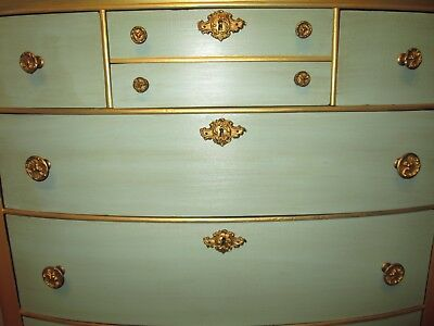 French Provincial Hand Painted Antique Dresser in Gold and Green