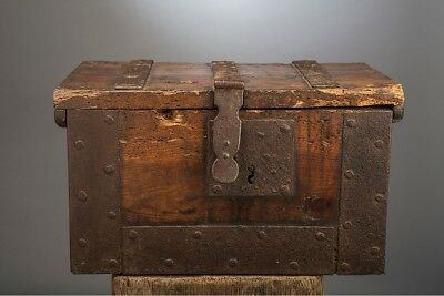 Large Iron Bound Church Casket 1680 17Th Century 17Eme Wooden Chest Coffer Box