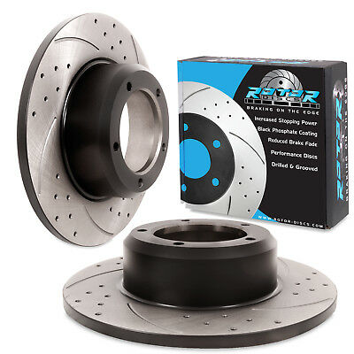 FRONT GROOVED DRILLED 298mm BRAKE DISCS FOR LAND ROVER DISCOVERY RANGE ROVER V8
