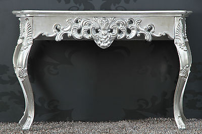 Console Wall Table Silver Antique Finish Luxurious Palatial Sideboard Rococo