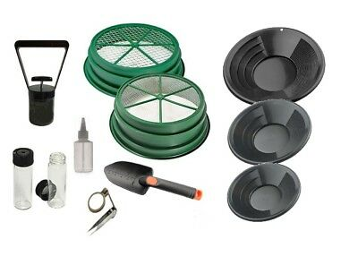 11pc Prospecting Gold Pan Panning Kit 3 Black Gold Pans 2 Classifiers & MORE!!!