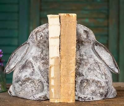 One Set Distressed Weathered Cast Iron Bunny Bookends