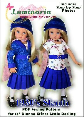 """Little Darling Doll Dress Pattern for 13/"""" Dianna Effner My Meadow Avery Paola"""
