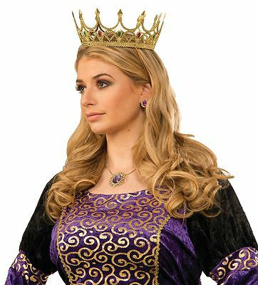 Royal Queen Crown Gold with Gems Fairy Tale Story Book Renaissance Adult Size