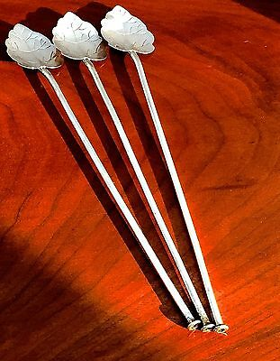 Mexican 20thC Sterling Silver Leaf Motif Sipper Spoons (3) Signed No Monogram