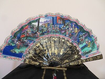 Elaborate Chinese 100 Faces Fan With Box Great Colors All faces Intact Excellent
