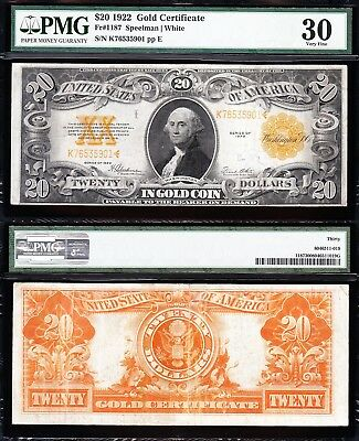 AWESOME Bold & Crisp VF++ 1922 $20 GOLD CERTIFICATE! PMG 30! FREE SHIP K76535901