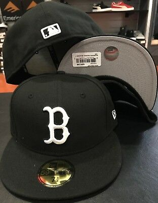 New Era Cap 59FIFTY Boston RED SOX B Black White MLB Hat Fitted LA 5950 NWT