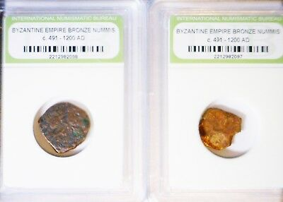 2 Ancient 491-1200 AD Roman Byzantine Bronze n Cheap Slabs 2 Coin LOT NO RESERVE