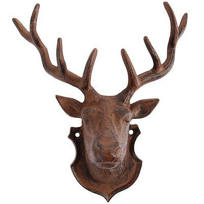 """ Stag Wall Decoration "" Deer Antlers Deer's Head Cast Iron Antler Cottage DB 44"