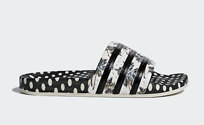 2582c3718312 New WOMENS Adidas ADILETTE FARM Sandals Slides Flop Flops Black White CM8224