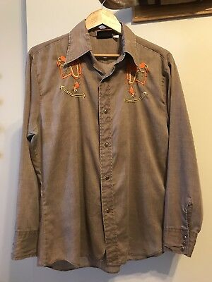 Westerner By Atlantic Men's VTG Snap Front Shirt Embroidered Saddles, Size M