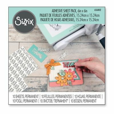 """Sizzix ~ Adhesive Sheet Pack ~ 6"""" by 6"""" ~ 10 Sheets ~ Permanent ~ #656802"""