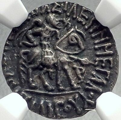 AZILISES I 57BC Indo-Skythian India KING HORSE Silver Greek Coin NGC i68724