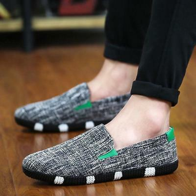 Fashion Mens Hemp Breathable Slip On Loafers Casual Shoes Driving Moccasins cn71