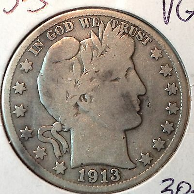 1913-S   VG  Barber Half Dollar   LY part IT bit of R