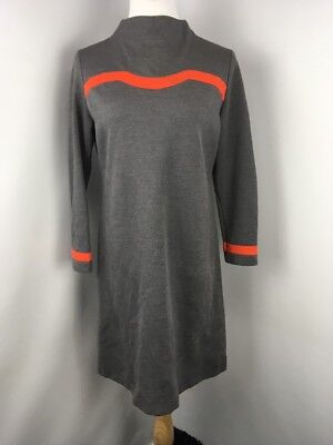 Vintage 70s 60s Gray Orange Space Age Stripe Mod Scooter Mini Dress Sz 5 Go-Go