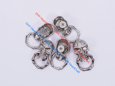 10X Silver Skull with Ring Rock Biker Wallet Purse Keychain Leathercraft Conchos