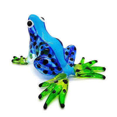 Miniature Blown Glass Blowing Art Frog Blue Animal Decor Collectible Souvenir