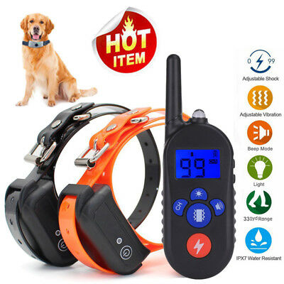Pet Trainer 330yds Remote Dog Shock E-Collar Rechargeable Waterproof Anti Bark