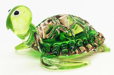 Miniature Turtle Blown Glass Blowing Art Animal Figurines gift Collectible Decor
