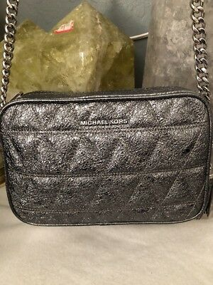 1ea805cd8aeb NWT Michael Kors Ginny Quilted Medium Leather Camera Bag Crossbody Pewter  Silver