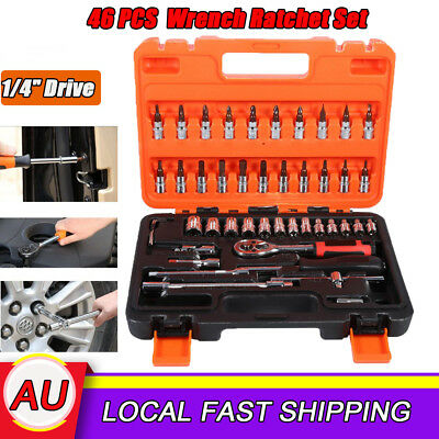 "1/4"" Drive 46PCS Socket Spanner Wrench Ratchet Set Metric Extension Bar Truck AU"