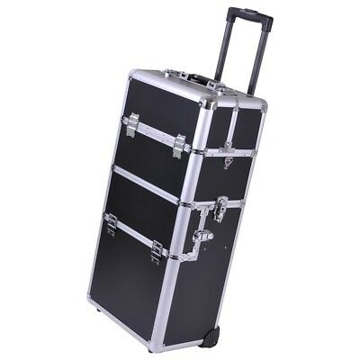 2in1 Rolling Aluminum Makeup Artist Cosmetic Train Case Box Black Silver