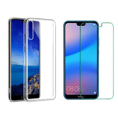 Tempered Glass Screen Protector Film Silicone Case Cover For Huawei P20 Pro Lite